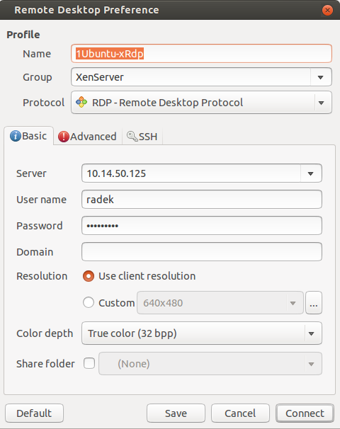 xRDP remmina konfigurace