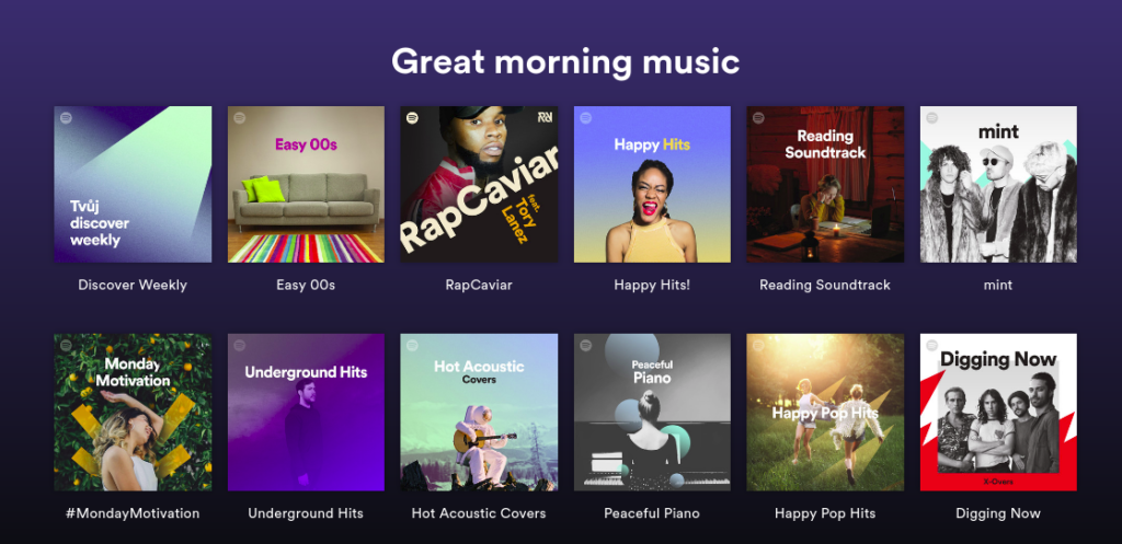 Spotify - naladove orientovana hudba