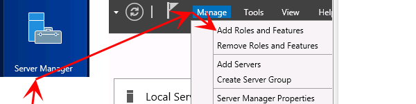 Přidání role ve windows server 2012 R2